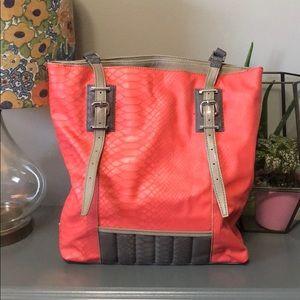 Simply Vera Wang coral snakeskin tote purse